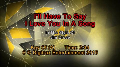 Jim Croce - I'll Have To Say I Love You In A Song (Backing Track)